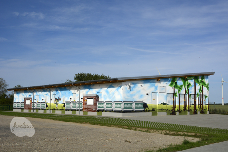 Fassadenmalerei,Fassadenmalerei Feldheim Graffiti, Graffiti-Auftrag, Graffitikünstler, Wandmalerei, Frameless, Frameless-studio