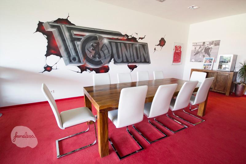 wandgestaltung-union-berlin, wandmalerei, Innenraumdesign, Graffiti, Graffitikünstler, Projekte, Frameless-studio,Frameless, Berlin, 1Fc. Union Berlin,