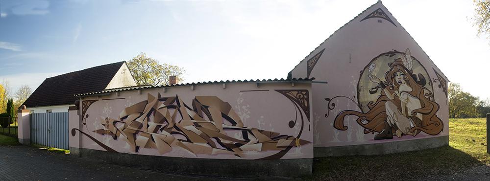 artnouveau_graff_2, Graffiti Fassadengestaltung, Graffitikünstler, Skenar73, StereoHeat, Frameless-studio, Frameless studio