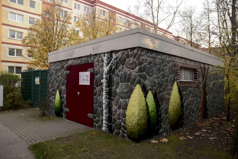Fassadengestaltung, Illusionsmalerei, Graffitikünstler, Berlin, Fassadenmalerei, Wandmalerei, Fassadengestaltung, Wandgestaltung, Frameless-studio, Graffitiauftrag