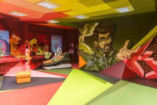 The Haus,Graffitisprayer, Berlin Art Bang, Frameless, Graffitikünstler, Innenraumgestaltung, Kunst, THE HAUS, Skenar73, Raws, Dejoe, StereoHeat, Wandgestaltung