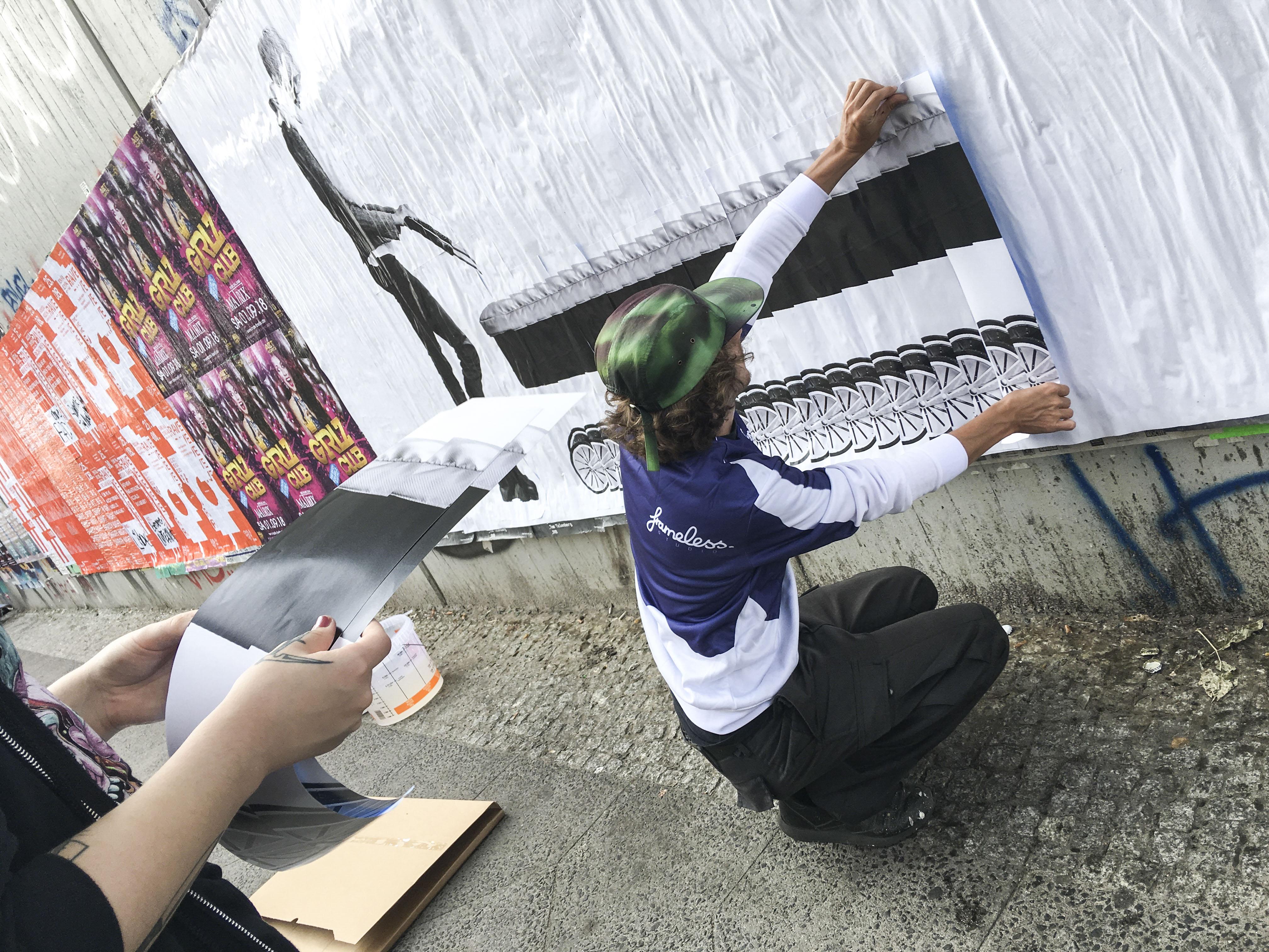 Street Art, Kampagne, Werbung, Aktivierung, Opel, Heimat, Heimat active, Paste Up, Berlin, Frameless